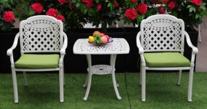 Best Selling Cast Aluminum Outdoor Furniture Bistro Set, IVY White for Terrace Balcony Swimming Pool pictures & photos
