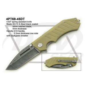 "4.5""Closed Liner Lock G10 Handle Knife with Stone Washed: 4PT113-45bk pictures & photos"