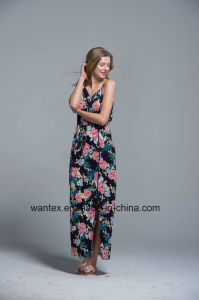 Ladies Long Dress Summer Fashion Printing Polyester Slit Sling Flower pictures & photos