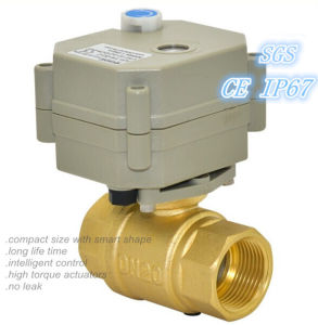 "High Quality 2 Way 3/4"" Brass Motorized Water Ball Valves (T20-B2-B) pictures & photos"