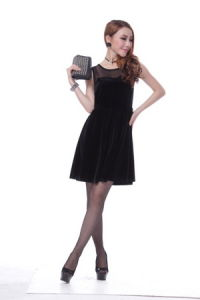 Top Design Sleeveless Sexy Dress Black Color