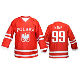 Custom Polska Red Sublimated Ice Hockey Jersey with Dri-Fit Material pictures & photos