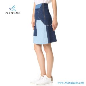 Factory Fashion 100% Cotton Denim Patchwork Ladies Women Jeans Skirts (E. P. 514) pictures & photos