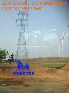 Megatro 220kv 2D2 Sjc2 Double Circuit Medium Angle Transmission Tower pictures & photos