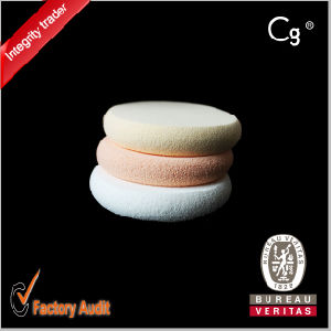 Round Latex Cream Cosmetic Powder Puff pictures & photos