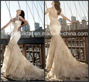 Champagne Mermaid Wedding Dress Satin Lace Bridal Gown W15238 pictures & photos