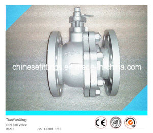 F4 DIN Flange Floating Casting Stainless Steel Pn16 Ball Valve pictures & photos