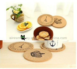Round Shape Cmyk Printing Black Waterproofing Cork Wood Coaster pictures & photos
