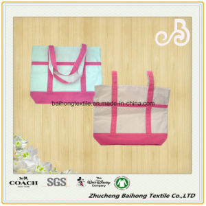Contrast Color Simple Style Cotton Canvas Shopping Bag pictures & photos