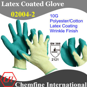 10g Yellow Polyester/Cotton Knitted Glove with Green Latex Wrinkle Coating/ En388: 2121 pictures & photos
