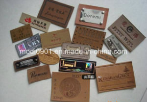 Jean Patch Leather Label Factory Custom Embossed Brand Name Tan Color Genuines Leather Patch for Jeans pictures & photos