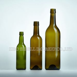 Wine Bottle 187ml in Green Color with Bvs Top (NA-024) pictures & photos