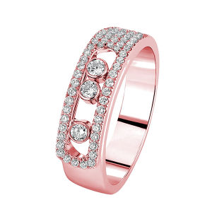 18k Rose Gold Move Rings with Micro Setting Diamonds pictures & photos