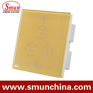 3 Gang Golden Touch Wall Switch, Remote Control Wall Socket 1500W 110-220V 16A pictures & photos