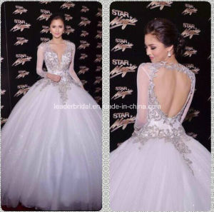 Romantic Long Sleeve V-Neck A-Line Floor Length White Tulle Beading Wedding Gown W1471943 pictures & photos