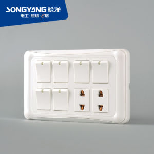 Flame Retardant PC Plastic 6gang+2socket Switch