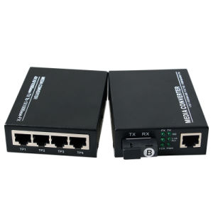 10/100Mbps Optical Fiber Media Converter 1 Fx and 4 RJ45 20km Sm (MG1004SC) pictures & photos