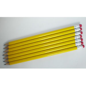 Yellow Pencils Hb with Eraser, Blacklead Pencils with Eraser pictures & photos