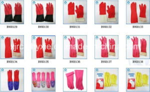 Latex Household Glove PU Coated Women Latex Household Gloves with Cotton pictures & photos