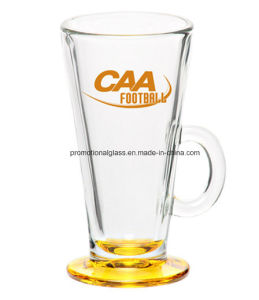 Colored Bottom Latte Glass, Glass Coffee Cup with Handle pictures & photos