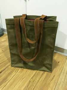 Custom Vintage Waterproof Waxed Canvas Tote Bag with Leather Handles pictures & photos