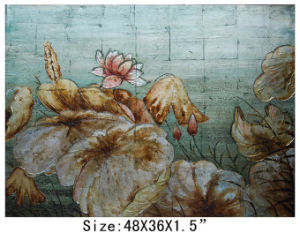 Handmade Gold Foil Modern Lotus Oil Painting (LH-700550) pictures & photos