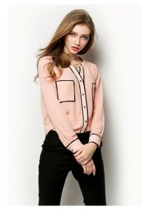 Ladies Fashion Stand Collar Long Sleeve Chiffon Lace Blouse for Summer pictures & photos