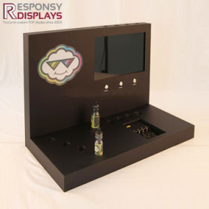 Custom LCD Buttons Showing E-Cigarette Wood Display Rack pictures & photos