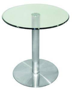 Brushed Stainless Steel Round Glass Lamp Tea Table pictures & photos