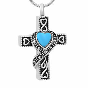 Stainless Steel Memorial Jewelry Cross Ash Urn Pendant Necklace with Crystal pictures & photos