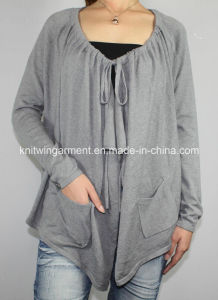 Women Round Neck Long Sleeve Cardigan Sweater (12AW-244) pictures & photos