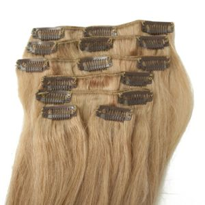 Human Remy Tangle Free Clip in Human Hair Extension pictures & photos