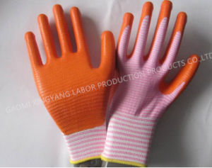 Zebra-Stripe Natrile Coated Glove Labor Protective Safety Work Gloves (N6028) pictures & photos