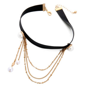 Hot Multi - Layer Chain Short Ribbon Female Choker Necklace Long Chain Pearl Pendant pictures & photos
