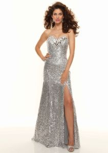 Silver Sequin Sexy Slide A-Line Formal Evening Dresses (ED3043) pictures & photos