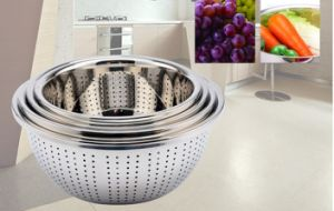 Stainless Steel Deep Wash Rice Sieve (BT-001) pictures & photos