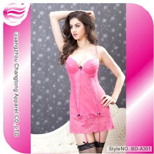 Hot Lady Lace Sexy Lingerie Babydoll Night Dress (BD-A001)