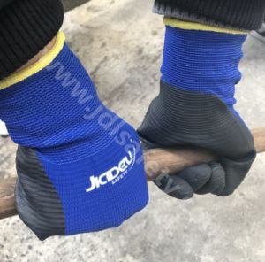 Blue Nylon Special Structured Knitted Working Gloves, Coated with Black Smooth Nitrile on Palm (N1575) pictures & photos