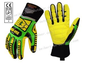 High Visible Level 5 Cut Resistant Anti-Slip PVC Dots Oil and Gas Safety Impact Gloves