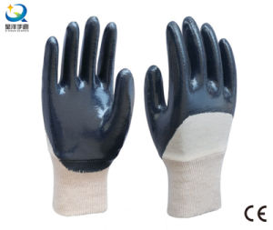 Cotton Jersey Shell Blue Nitrile Coated Safety Work Gloves (N6038) pictures & photos