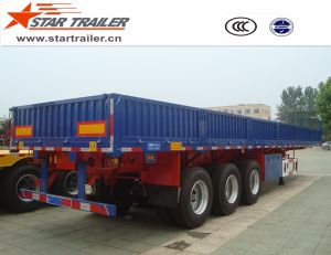 3axles 40t Flatbed Sidewall Semi Trailer pictures & photos