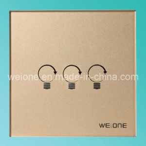 OEM/ODM RF Radio Frequency Gold Tempered Glass 3 CH Remote Control Smart Switch