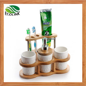 Ceramic Bathroom Set with Bamboo Stand pictures & photos