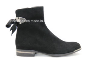 Metal Heel Casual Women Leather Boots with Fashion Details pictures & photos