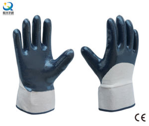 Cotton Jersey Shell Half Coated Nitrile Coated Safety Work Gloves (N6037) pictures & photos
