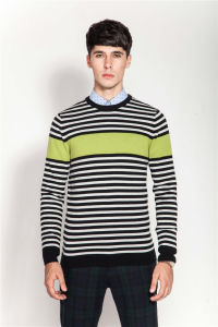 100%Cashmere Stiped Knitting Men Jumper Sweater pictures & photos