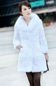 Fast Shipping Women′s 2012 New Style Rabbit Fur Coat with Fox Collar Jacket Grey a-3620 pictures & photos