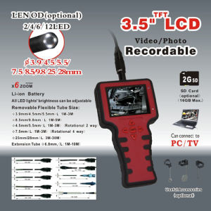 Hot Sale 3.5′′ TFT LCD Rotational Video Endoscope Red Handheld Borescope
