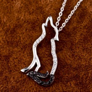 Genuine 925 Sterling Silver Howling Wolf Necklace Pendant for Women Men Original Animal Jewelry pictures & photos