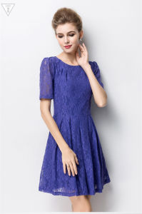 The Latest New Design Round Collar Short Sleeve Lace Ladies Dress for Women pictures & photos